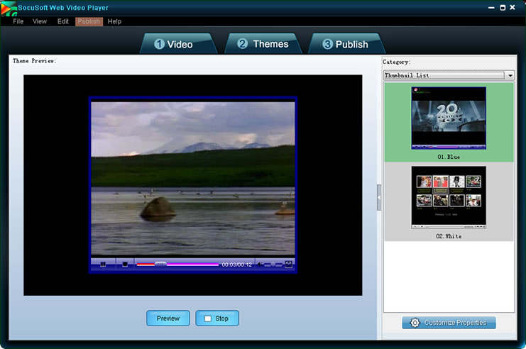 Socusoft Web Video Player screenshot: Web Video Player, Web Video Software, Flash video player,swf video player,SWF tool, Flash Video, swf player, flv connverter r